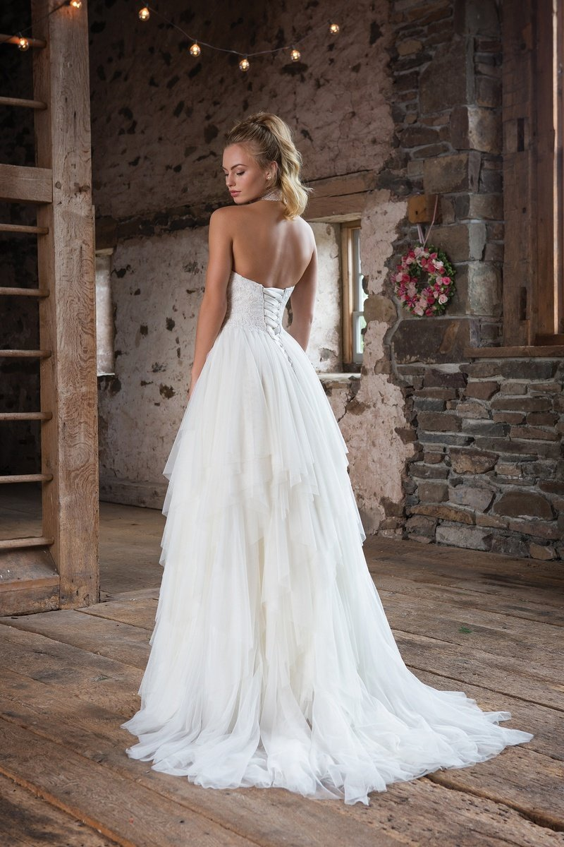 Sweetheart Gowns Flowy English Net with Lace Up Back Wedding Gown ...