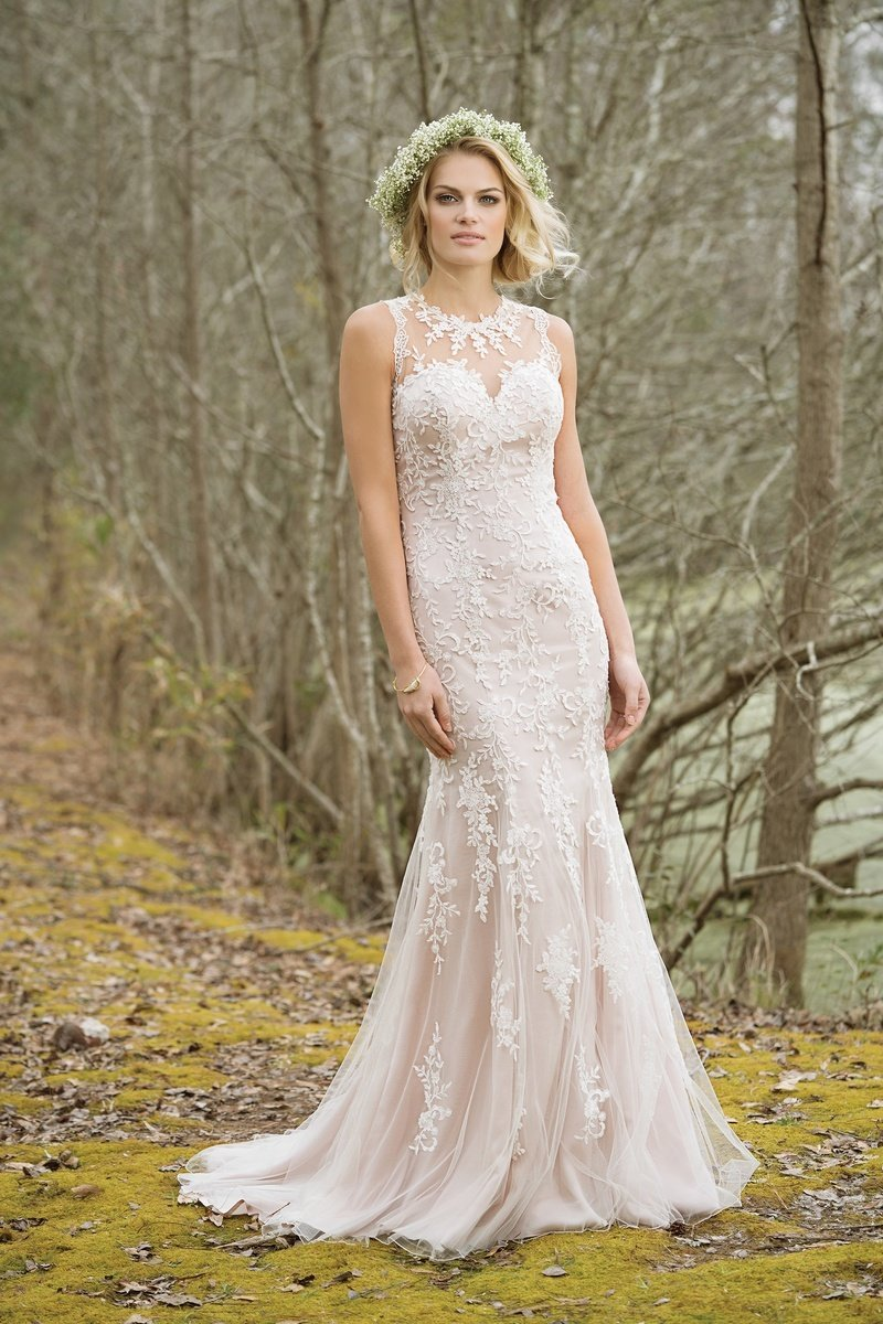 Lillian West High Neck Fit and Flare Tulle and Lace Wedding Gown ...