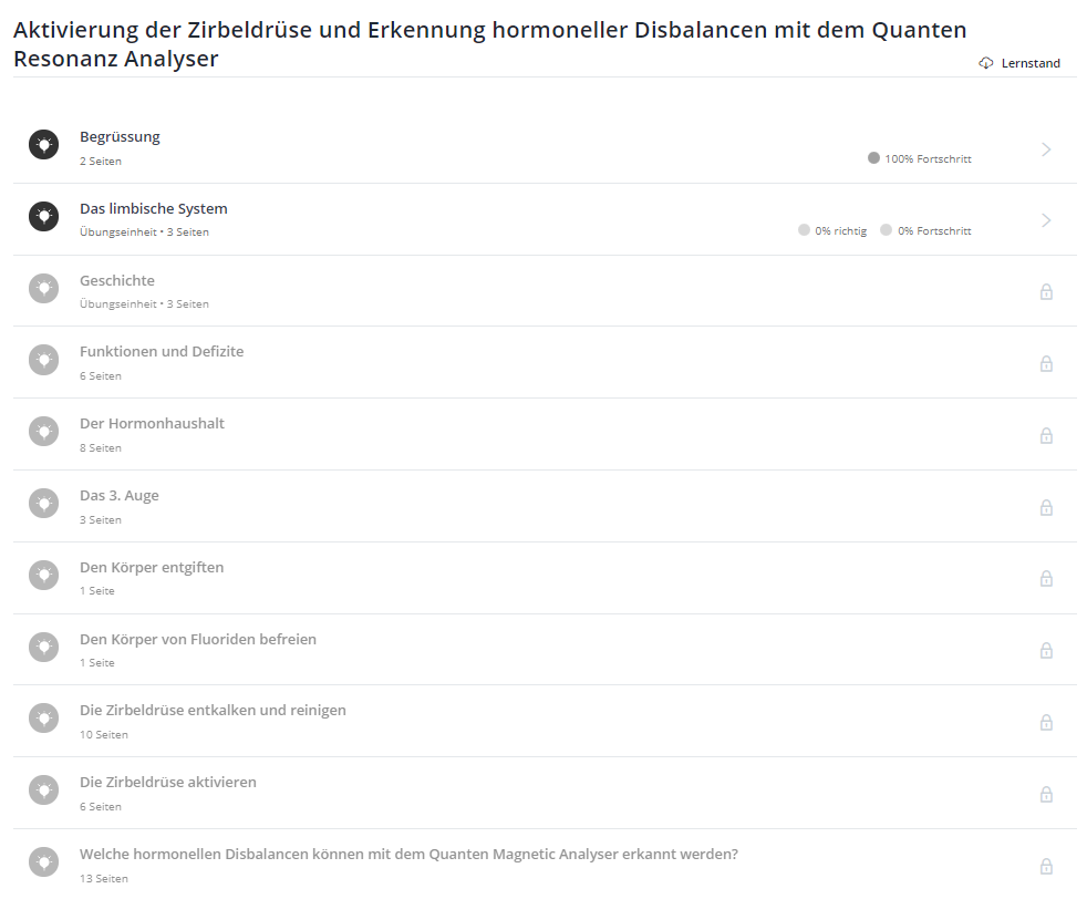 """Onlinekurs """"Zirbeldrüse aktivieren und hormonelle Disbalancen erkennen mit dem Quanten Resonanz Analyser"""" Deutsch"""