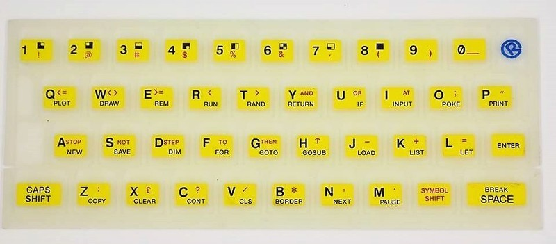 ZX SPECTRUM 16k/48k Fluorescent keyboard mat Yellow