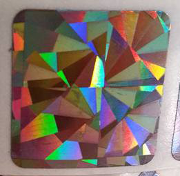 "1"" hologram square scratch off sticker"