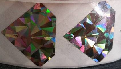1' diamond hologram scratch off sticker