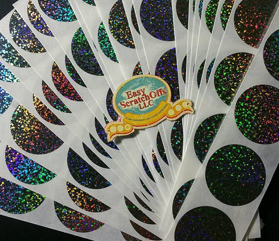 Hologram glitter scratch off stickers, set of 100 00002