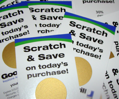 Scratch off coupon with purchase