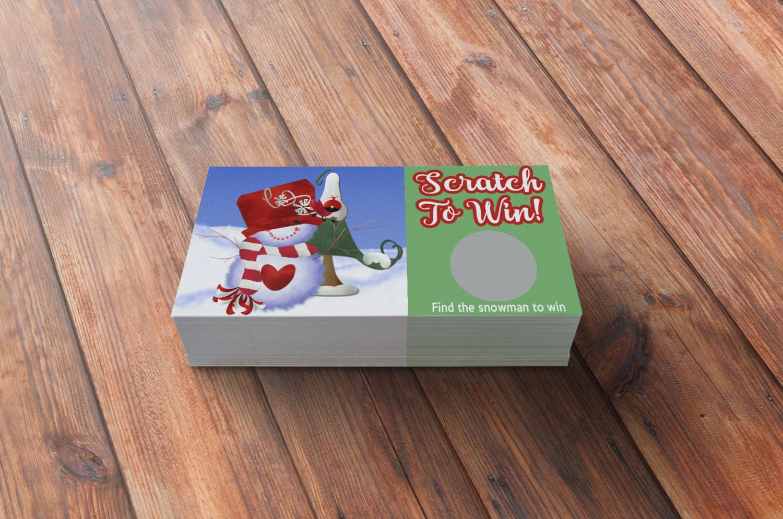 Snowman scratch off card