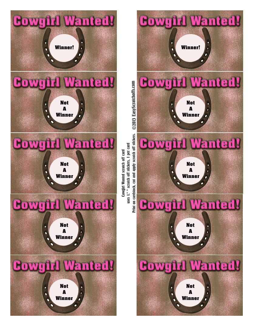Cowgirl scratch off template