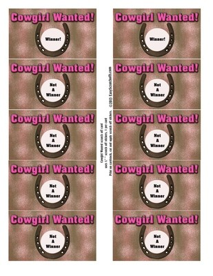 Cowgirl scratch off template